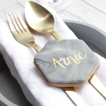 Personalised Marble Place Cards Biscuits Set Of 10