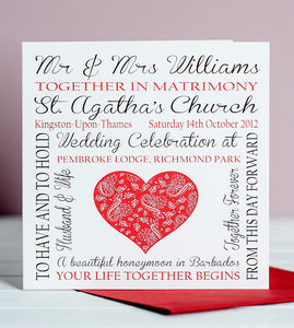 Personalised Wedding Memories Card