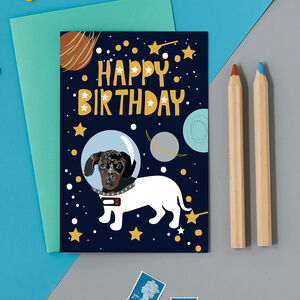 Happy Birthday Sausage Dog Astronaut Card