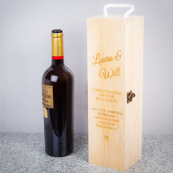 Personalised Wooden Wine Engagement Gift Box