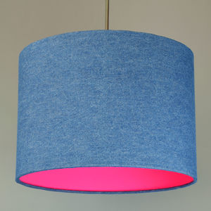 Denim Drum Lampshade With Choice Of Neon Lining
