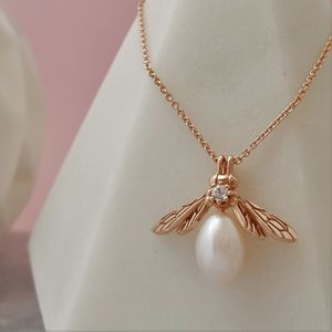 Rose Gold Pearl Bee Pendant