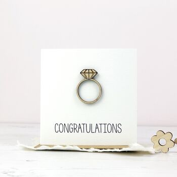 Wooden Ring Engagement Card