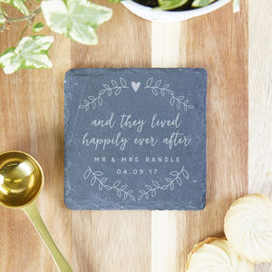 Happily Ever After Wedding Gift Personalised Coaster - placemats & coasters