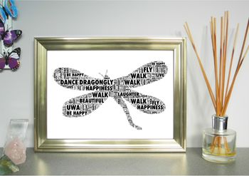 Dragonfly Personalised Word Art Print