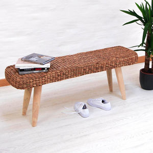 Wooden Hallway Bench With Wicker - home inspiration
