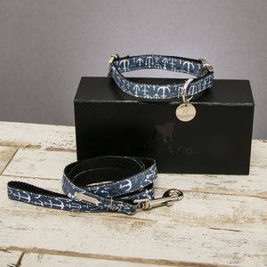 The Salcombe Nautical Dog Collar And Lead Set - dog collars