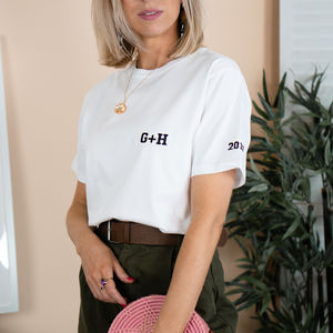 Embroidered 'Initials' Wedding Or Anniversary Tshirt