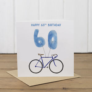 60th Bicycle Balloon Birthday Card - birthday cards