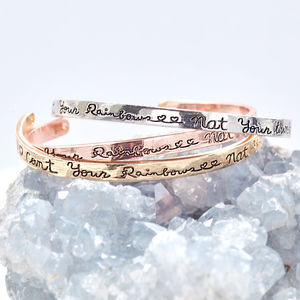 'Count Your Rainbows Not Your Thunderstorms' Bangle - bracelets & bangles