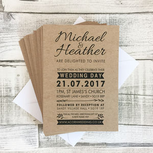 Bespoke Vintage Kraft Wedding Invitations - invitations