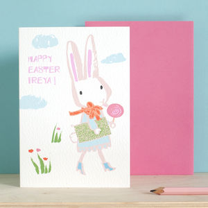 Personalised Easter Bunny Card For A Girl - summer sale