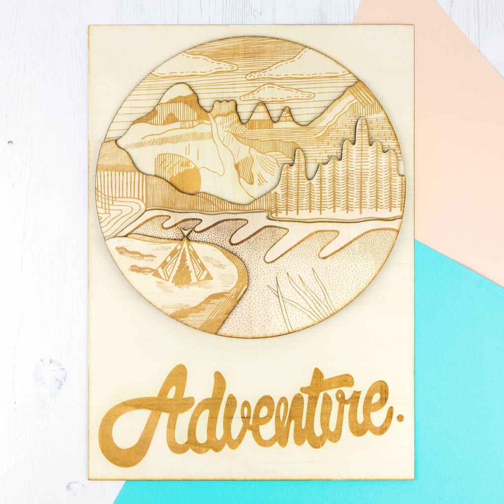 adventure\' laser cut wooden wall art by hashtag house ...