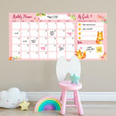 Dry Wipe Wall Calendar Foxes Pink Pattern