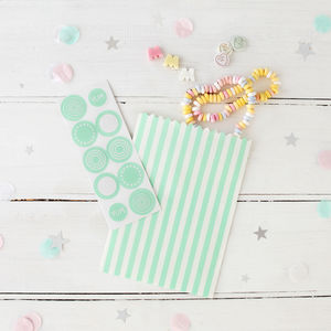 Striped Mint Treat Bags And Stickers - party bags and ideas