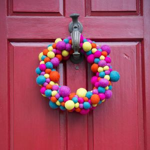 Colourful Handmade Felt Christmas Wreath - decorative accessories