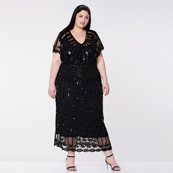 Plus Size Angel Sleeve Black Maxi Hand Embellished
