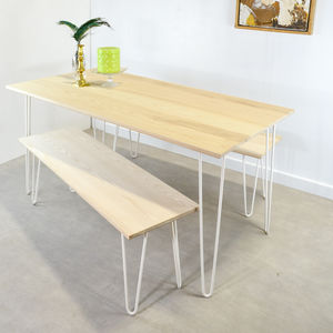 Solid Ash Table On Hairpin Legs - dining tables
