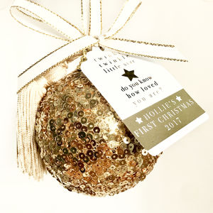 Gold Sparkly Personalised Christmas Tree Bauble