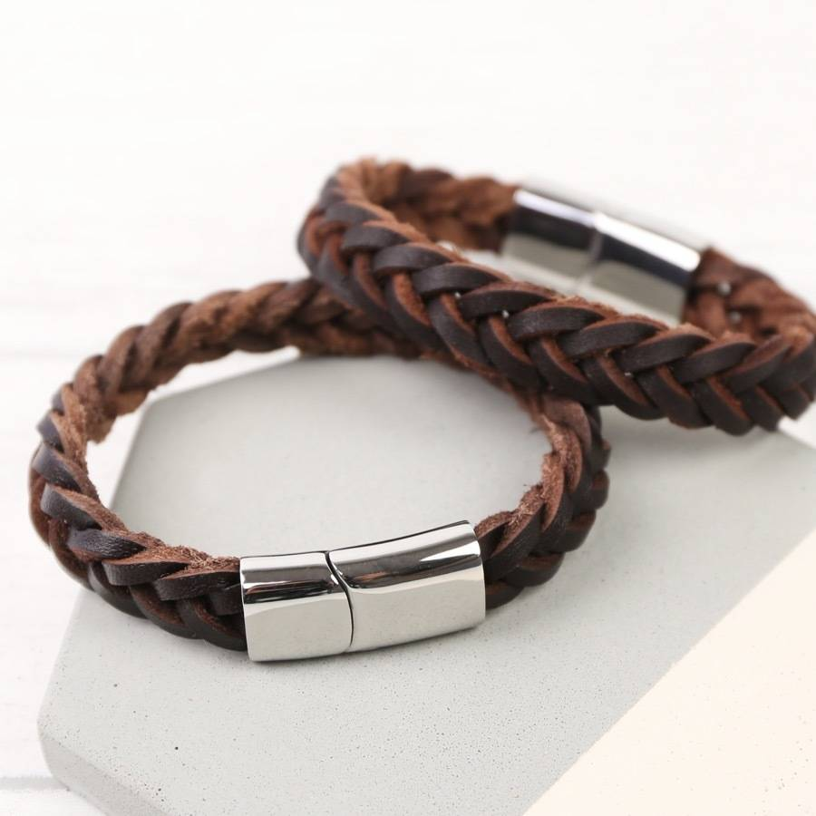 Men S Thick Woven Leather Bracelet