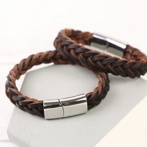 Men's Thick Brown Woven Leather Bracelet - bracelets