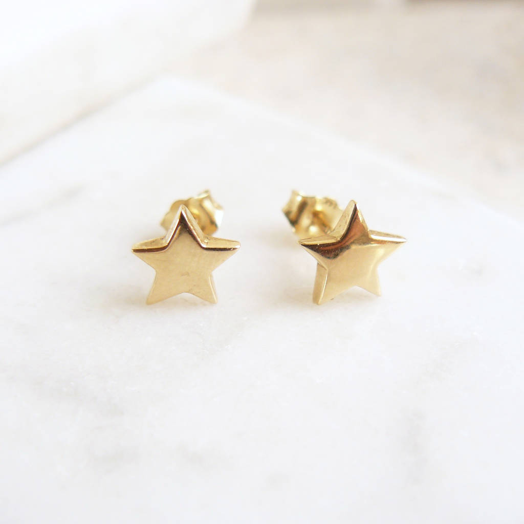 ba1bea43e star stud earrings in gold vermeil by lime tree design ...