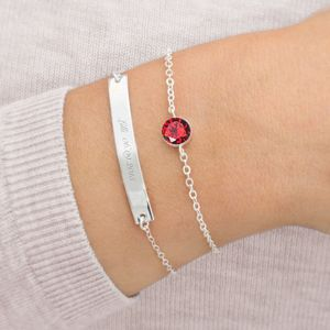 Personalised Bar And January Birthstone Bracelet Set - june birthstone