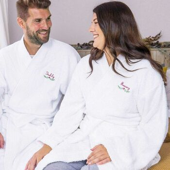 Personalised Couples Winter Bathrobe Set