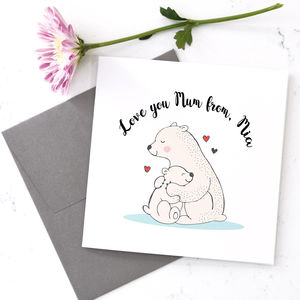 Personalised Bear Mummy And Bear Cub Card