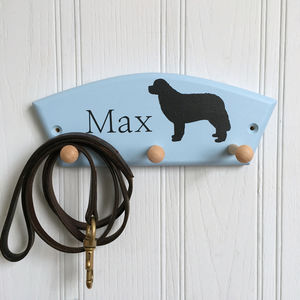 Personalised Newfoundland Dog Lead Holder - hooks, pegs & clips