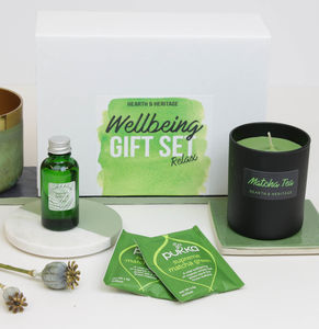 Matcha Tea Wellbeing Pamper Box With Scented Candle