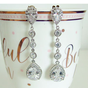 Cubic Zirconia Long Drop Earring