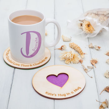 Personalised Heart Wooden Drinks Coasters