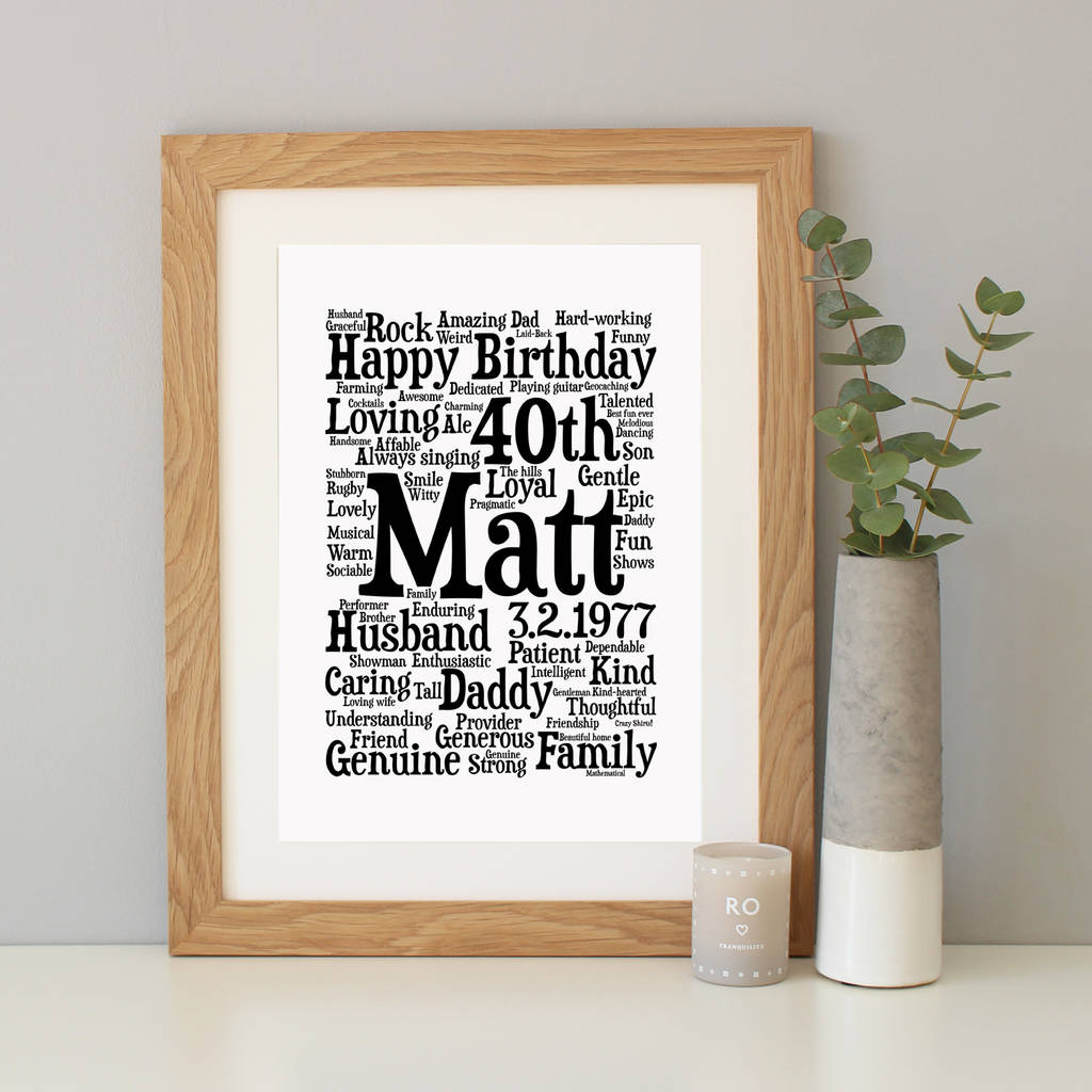 personalised 40th birthday word art gift by hope and love ...