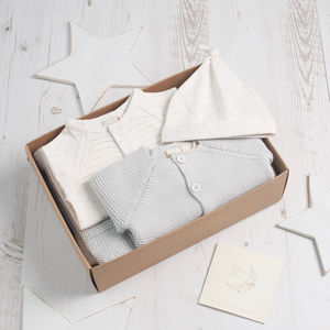 Little Star Baby Shower Unisex Grey Gift Box - christening gifts