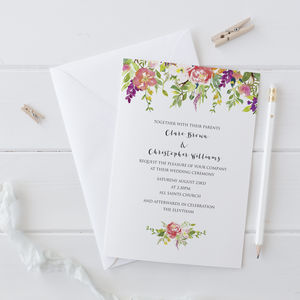 Watercolour Wedding Invitation - spring styling