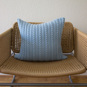 Strikk Hand Knit Twisted Cable Cushion In Turquoise
