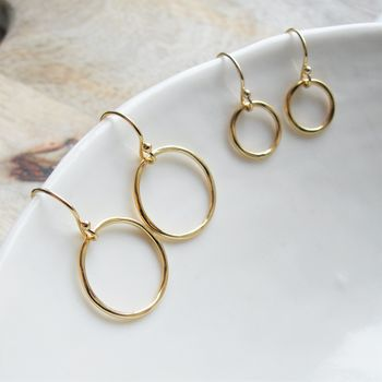 Small Rolled Gold Circle Earrings