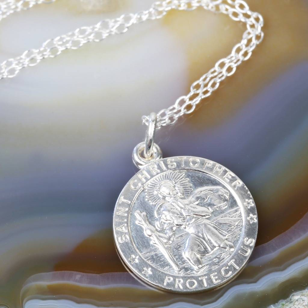 Sterling silver st christopher pendant necklace by lisa angel sterling silver st christopher pendant necklace large pendant mozeypictures Image collections