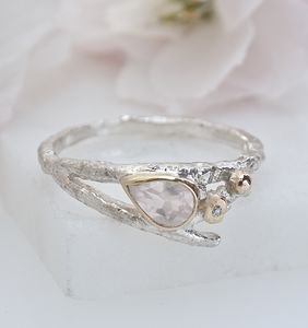 Rose Quartz And Diamond Elvish Twig Nature Ring - rings
