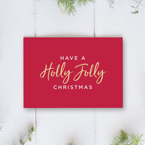Holly Jolly Christmas Card Single Or Pack
