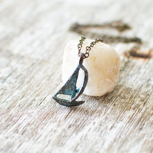 Sailing Boat Patina Necklace