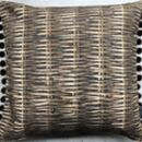 Wicker Print Cushion With Velvet Pom Poms
