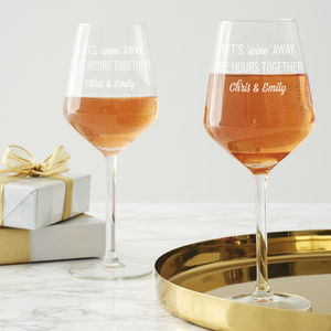 Couple's 'Wine Away' Personalised Wine Glass Set