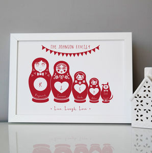 Personalised Russian Dolls Family Print