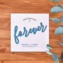 wedding card with name and wedding date added