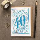 40th Birthday 40th Card Blue Chalk