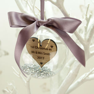 Personalised First Christmas As Mr And Mrs Bauble - baubles & hanging decorations