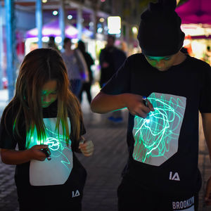 Childrens Interactive Green Glow Tshirt In Black - gifts for tweens