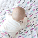 Personalised Feather Baby Organic Swaddle Blanket